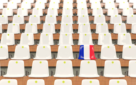 Stadium seat with flag of france in a row of white chairs. 3D illustration Stock Photo