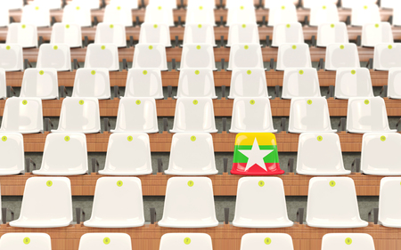 Stadium seat with flag of myanmar in a row of white chairs. 3D illustration