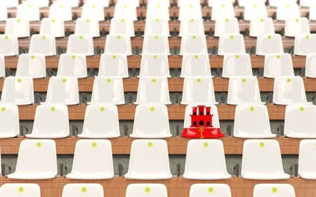 Stadium seat with flag of gibraltar in a row of white chairs. 3D illustration