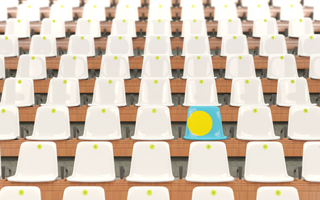 Stadium seat with flag of palau in a row of white chairs. 3D illustration Stock Photo