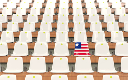 Stadium seat with flag of liberia in a row of white chairs. 3D illustration Stock Photo