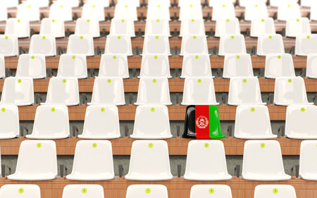 Stadium seat with flag of afghanistan in a row of white chairs. 3D illustration