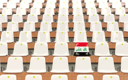 Stadium seat with flag of iraq in a row of white chairs. 3D illustration Stock Photo