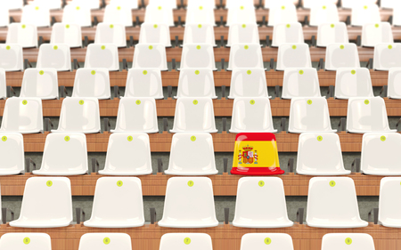Stadium seat with flag of spain in a row of white chairs. 3D illustration