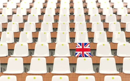 Stadium seat with flag of united kingdom in a row of white chairs. 3D illustration 写真素材