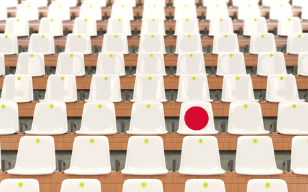 Stadium seat with flag of japan in a row of white chairs. 3D illustration