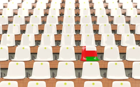 Stadium seat with flag of oman in a row of white chairs. 3D illustration
