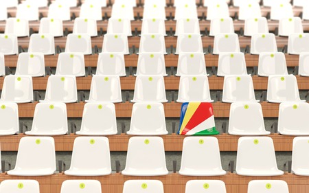 Stadium seat with flag of seychelles in a row of white chairs. 3D illustration