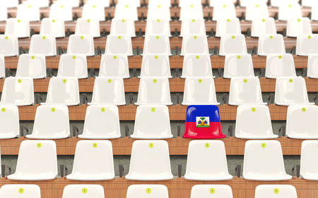 Stadium seat with flag of haiti in a row of white chairs. 3D illustration