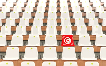 Stadium seat with flag of tunisia in a row of white chairs. 3D illustration
