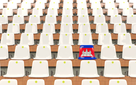 Stadium seat with flag of cambodia in a row of white chairs. 3D illustration