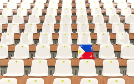 Stadium seat with flag of philippines in a row of white chairs. 3D illustration Stock Photo