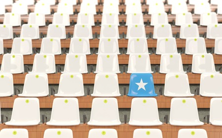 Stadium seat with flag of somalia in a row of white chairs. 3D illustration Stock Photo