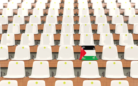 Stadium seat with flag of palestinian territory in a row of white chairs. 3D illustration