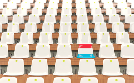 Stadium seat with flag of luxembourg in a row of white chairs. 3D illustration
