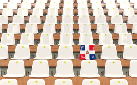 Stadium seat with flag of dominican republic in a row of white chairs. 3D illustration Stock Photo