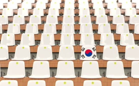 Stadium seat with flag of south korea in a row of white chairs. 3D illustration