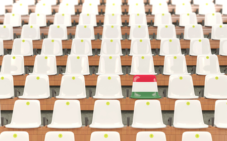 Stadium seat with flag of hungary in a row of white chairs. 3D illustration Stock Photo