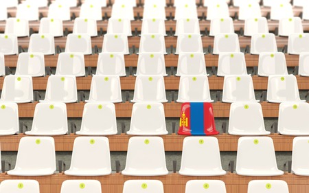 Stadium seat with flag of mongolia in a row of white chairs. 3D illustration