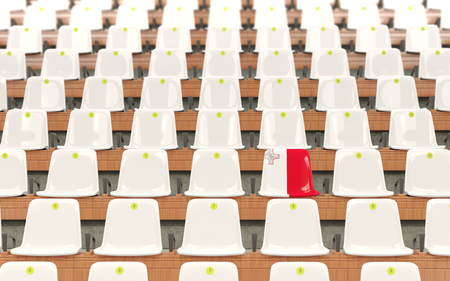 Stadium seat with flag of malta in a row of white chairs. 3D illustration Stock Photo