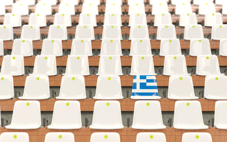 Stadium seat with flag of greece in a row of white chairs. 3D illustration