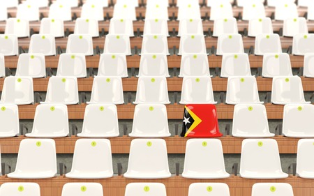 Stadium seat with flag of east timor in a row of white chairs. 3D illustration