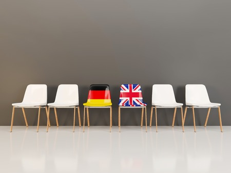 Chairs with flag of Germany and UK in a row. 3D illustration Reklamní fotografie