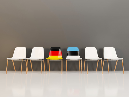 Chairs with flag of Germany and estonia in a row. 3D illustration