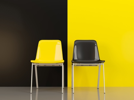 Two chairs in front of black and yellow wall. 3D illustration