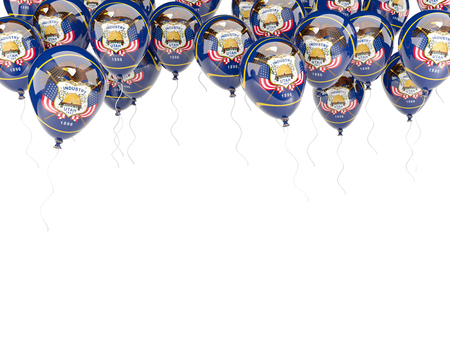 Balloons frame with flag of utah. United states local flags. 3D illustration