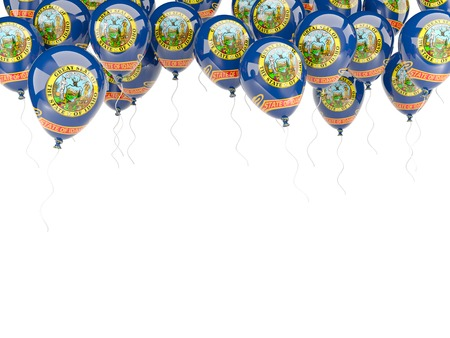 Balloons frame with flag of idaho. United states local flags. 3D illustration 写真素材 - 107082672