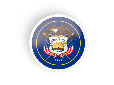 Round bended icon with flag of utah. United states local flags. 3D illustration 版權商用圖片 - 107083481