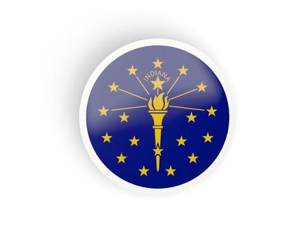 Round bended icon with flag of indiana. United states local flags. 3D illustration