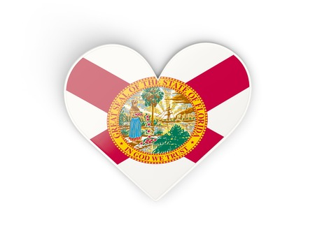 Heat with flag of florida. United states local flags. 3D illustration