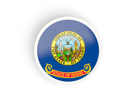 Round bended icon with flag of idaho. United states local flags. 3D illustration 写真素材