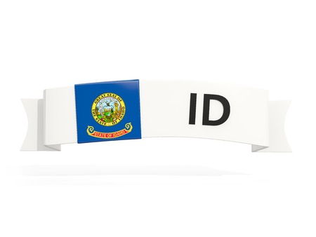 idaho state flag on banner with postal abbreviation isolated on white. 3D illustration 写真素材