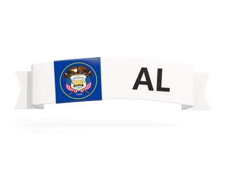 utah state flag on banner with postal abbreviation isolated on white. 3D illustration 版權商用圖片