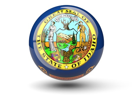 3D ball icon with flag of idaho. United states local flags. 3D illustration