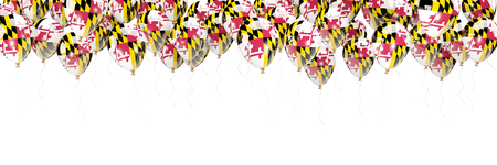 Balloons frame with flag of maryland. United states local flags. 3D illustration