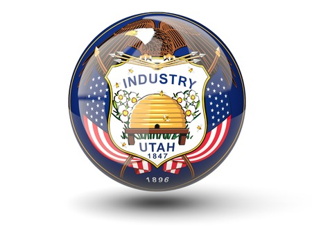 3D ball icon with flag of utah. United states local flags. 3D illustration