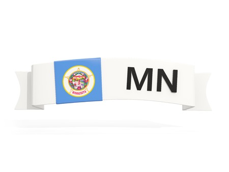 Minnesota State Flag On Banner With Postal Abbreviation Isolated