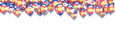 Balloons frame with flag of colorado. United states local flags. 3D illustration