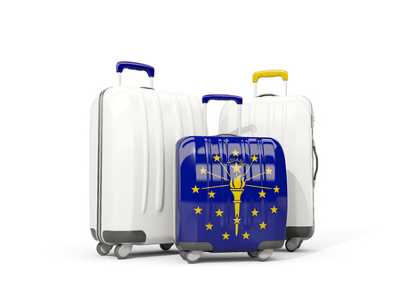 Luggage with flag of indiana. Three bags with united states local flags. 3D illustration