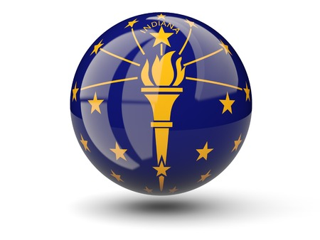 3D ball icon with flag of indiana. United states local flags. 3D illustration