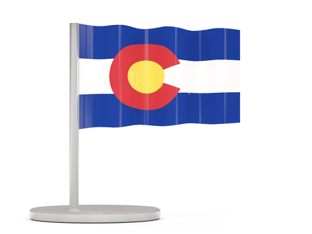 Flag pin with flag of colorado. United states local flags. 3D illustration
