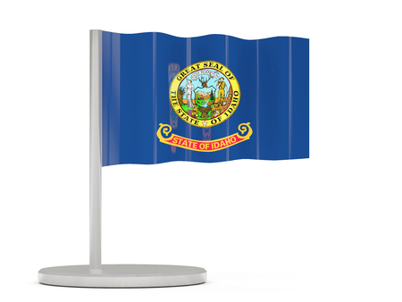 Flag pin with flag of idaho. United states local flags. 3D illustration 写真素材 - 107583489