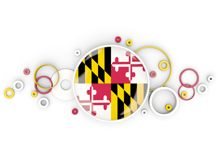 Round flag of maryland with circles pattern. United states local flags. 3D illustration