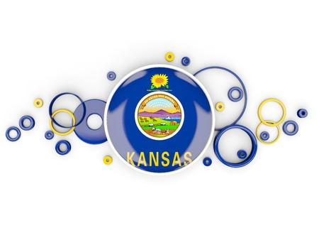Round flag of kansas with circles pattern. United states local flags. 3D illustration