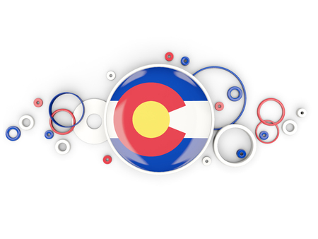 Round flag of colorado with circles pattern. United states local flags. 3D illustration
