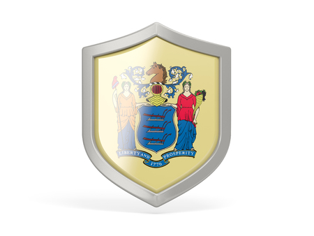 Shield icon with flag of new jersey. United states local flags. 3D illustration Stock fotó